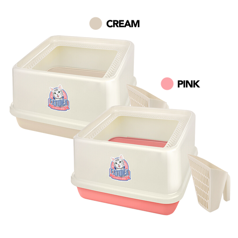 CatIdea Top Entry Cat Litter Box (Cream/Pink)