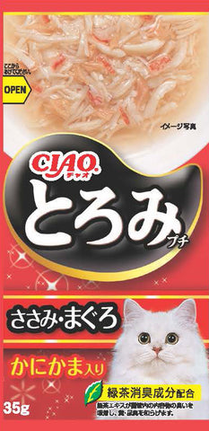 Ciao Toromi Line Pouch – Chicken Fillet, Tuna & Crab Stick (35g x 4)