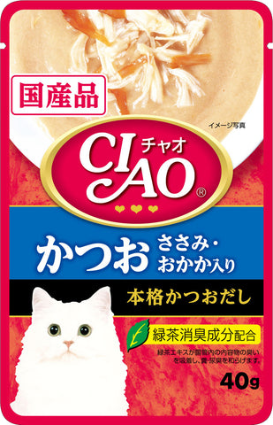 Ciao Creamy Soup Pouch – Tuna (Katsuo) & Chicken Fillet Topping Dried Bonito (40g)