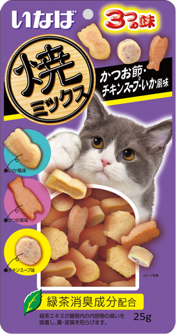 Ciao Soft Bits Mix – Tuna & Chicken Fillet with Dried Bonito, Chicken Soup and Squid Flavour (25g)