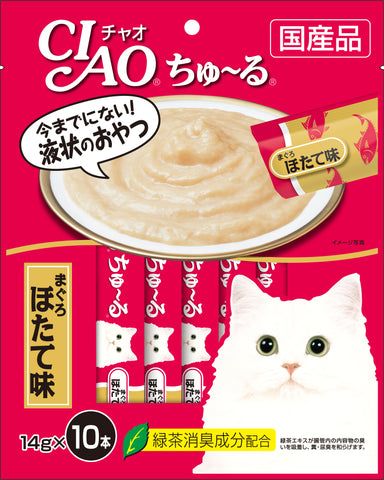 Ciao Churu 10p White Meat Tuna Scallop Flavour Cat Treats - 14g x 10