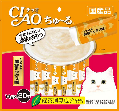 Ciao Churu 20p Chicken Fillet Seafood Mix Cat Treats - 14g x 20
