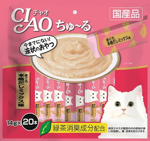 Ciao Churu 20p Tuna Japanese Broth Cat Treats - 14g x 20