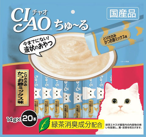 Ciao Churu 20p Chicken Fillet & Sliced Bonito Cat Treats - 14g x 20