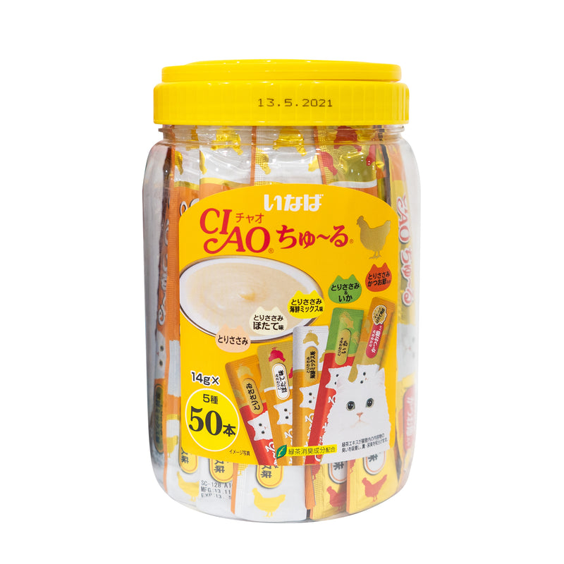 Ciao Churu 50p Chicken Mix Festive Pack Cat Treats - 14g x 50