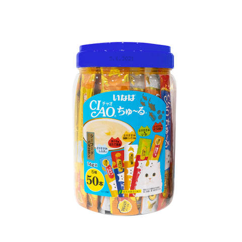 Ciao Churu 50p Seafood Mix Festive Pack Cat Treats - 14g x 50