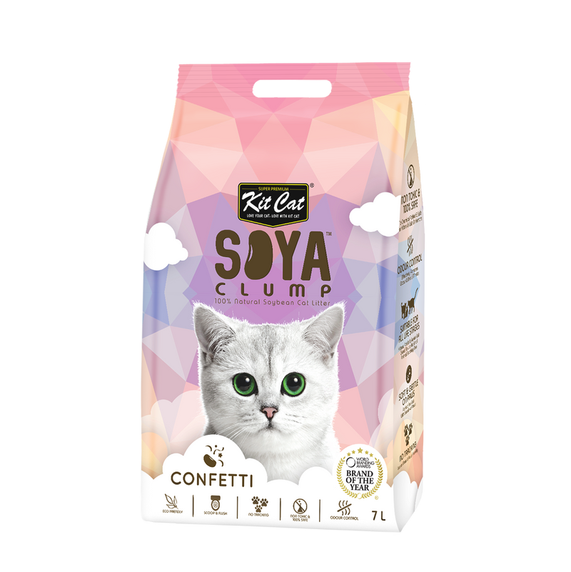 Kit Cat Soya Clump Cat Litter (7L) - Confetti