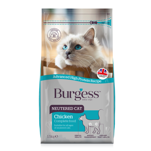 Burgess Chicken Neutered Cat Dry Cat Food (1.5kg)