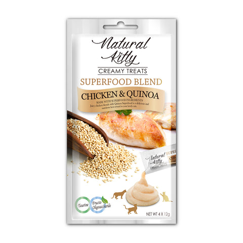 Natural Kitty Creamy Treats, Superfood Blend - Chicken & Quinoa Puree Treats (4 x 12g)