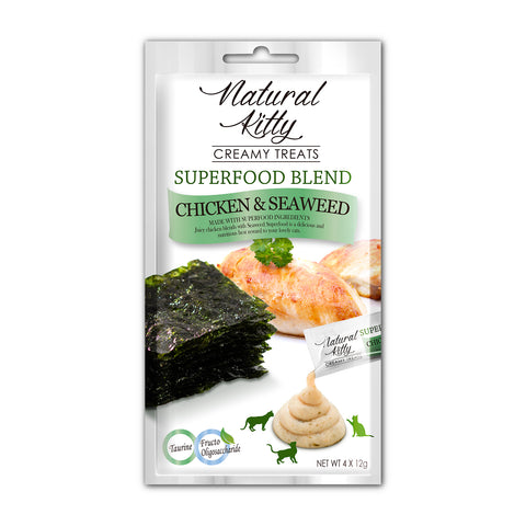 Natural Kitty Creamy Treats, Superfood Blend - Chicken & Seaweed Puree Treats (4 x 12g)
