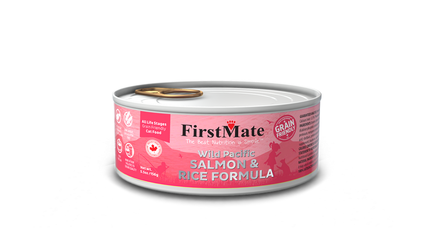 FirstMate Grain Friendly Wild Pacific Salmon & Rice Cat Canned Food (156g)