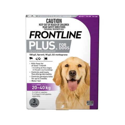 Frontline Plus for Large Dogs - 3 doses (20 to 40kg)