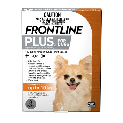 Frontline Plus for Small Dogs - 3 doses (up to 10kg)