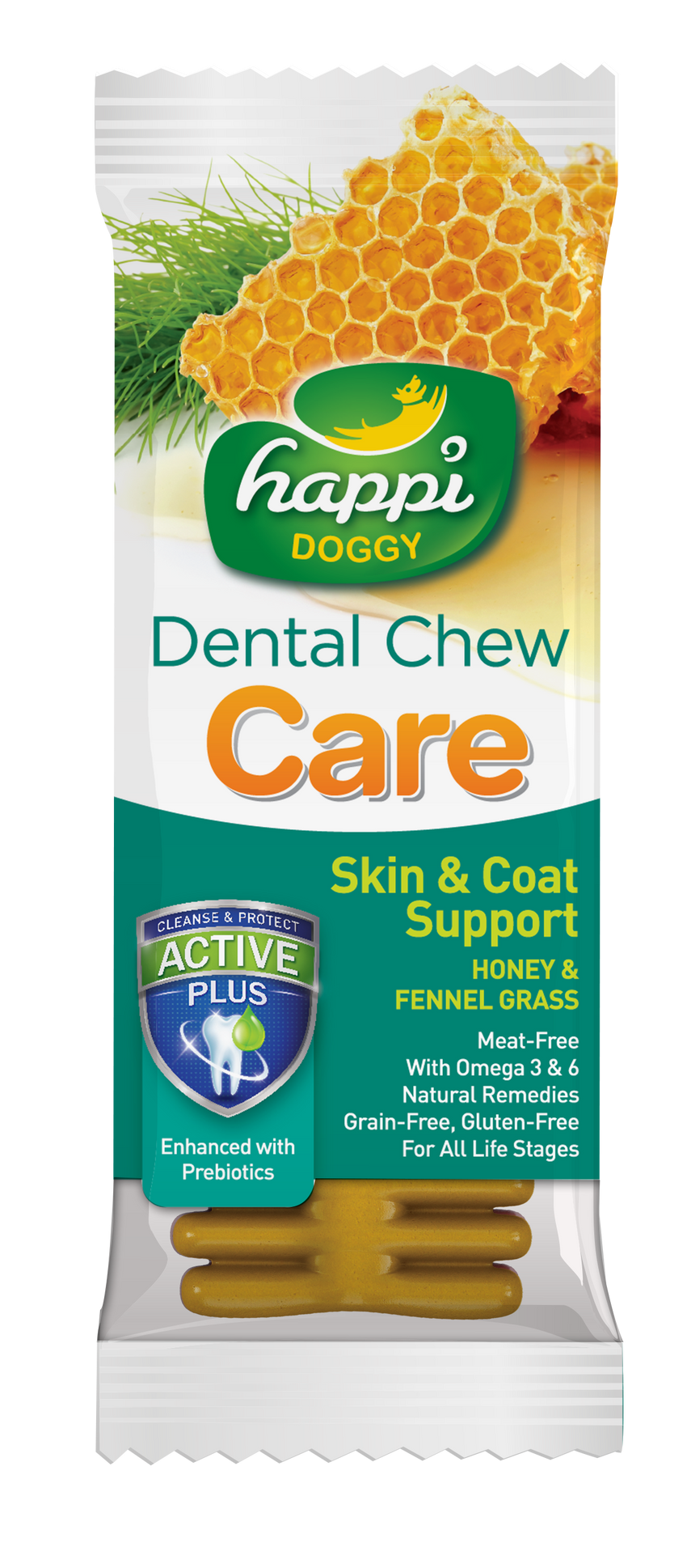 Happi Doggy Dental Chew Care (Skin & Coat Support) 4""