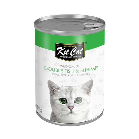 Kit Cat Double Fish with Shrimp Canned Cat Food (400g)