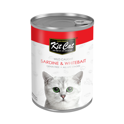 Kit Cat Pacific Sardine with Fresh Whitebait Canned Cat Food (400g)