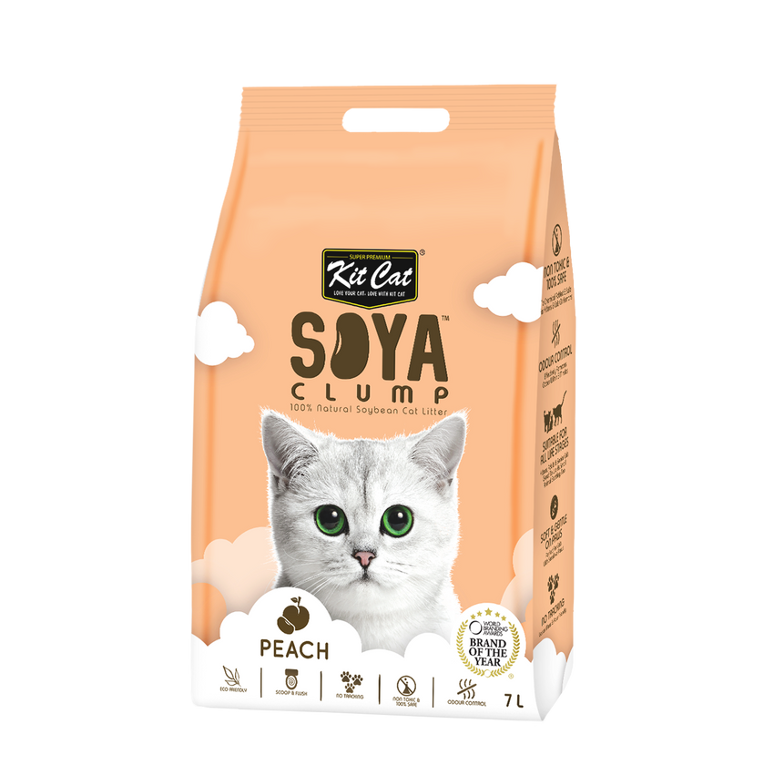 Kit Cat Soya Clump Cat Litter (7L) - Peach
