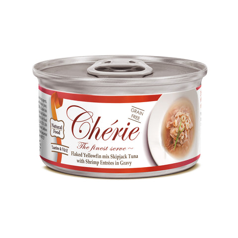 Chérie, Flaked Yellowfin mix Skipjack Tuna with Shrimp Entrées in Gravy (80g)