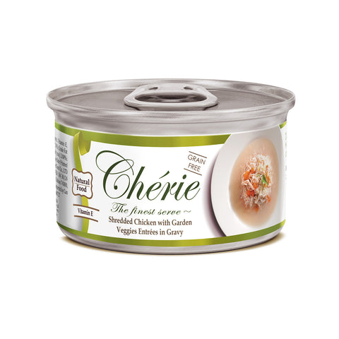Chérie, Shredded Chicken with Garden Veggies Entrées in Gravy (80g)