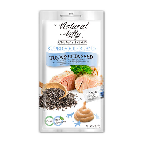 Natural Kitty Creamy Treats, Superfood Blend – Tuna & Chia Seeds Puree Treats (4 x 12g)