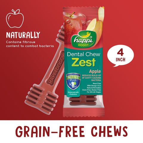 Happi Doggy Dental Chew Zest Apple 4''