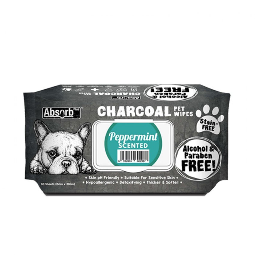 Absorb Plus Charcoal Pet Wipes (80 pieces) - Peppermint