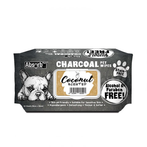Absorb Plus Charcoal Pet Wipes (80 pieces) - Coconut