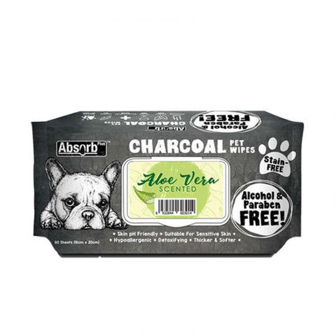 Absorb Plus Charcoal Pet Wipes (80 pieces) - Aloe Vera
