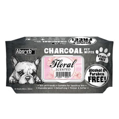 Absorb Plus Charcoal Pet Wipes (80 pieces) - Floral