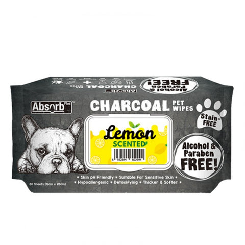Absorb Plus Charcoal Pet Wipes (80 pieces) - Lemon