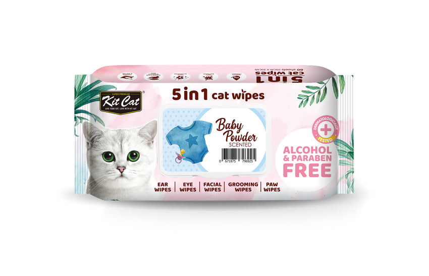 Kit Cat 5 in 1 Cat Wipes (80 pcs) - Baby Powder