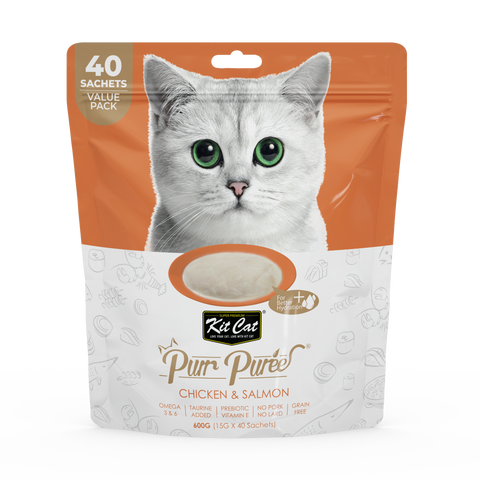 Kit Cat Purr Puree Cat Treats Value Pack - Chicken & Salmon (40 x 15g)
