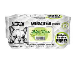 Absorb Plus Antibacterial Pet Wipes (80 Pieces) - Aloe Vera
