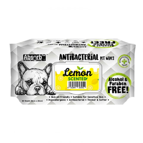 Absorb Plus Antibacterial Pet Wipes (80 Pieces) - Lemon
