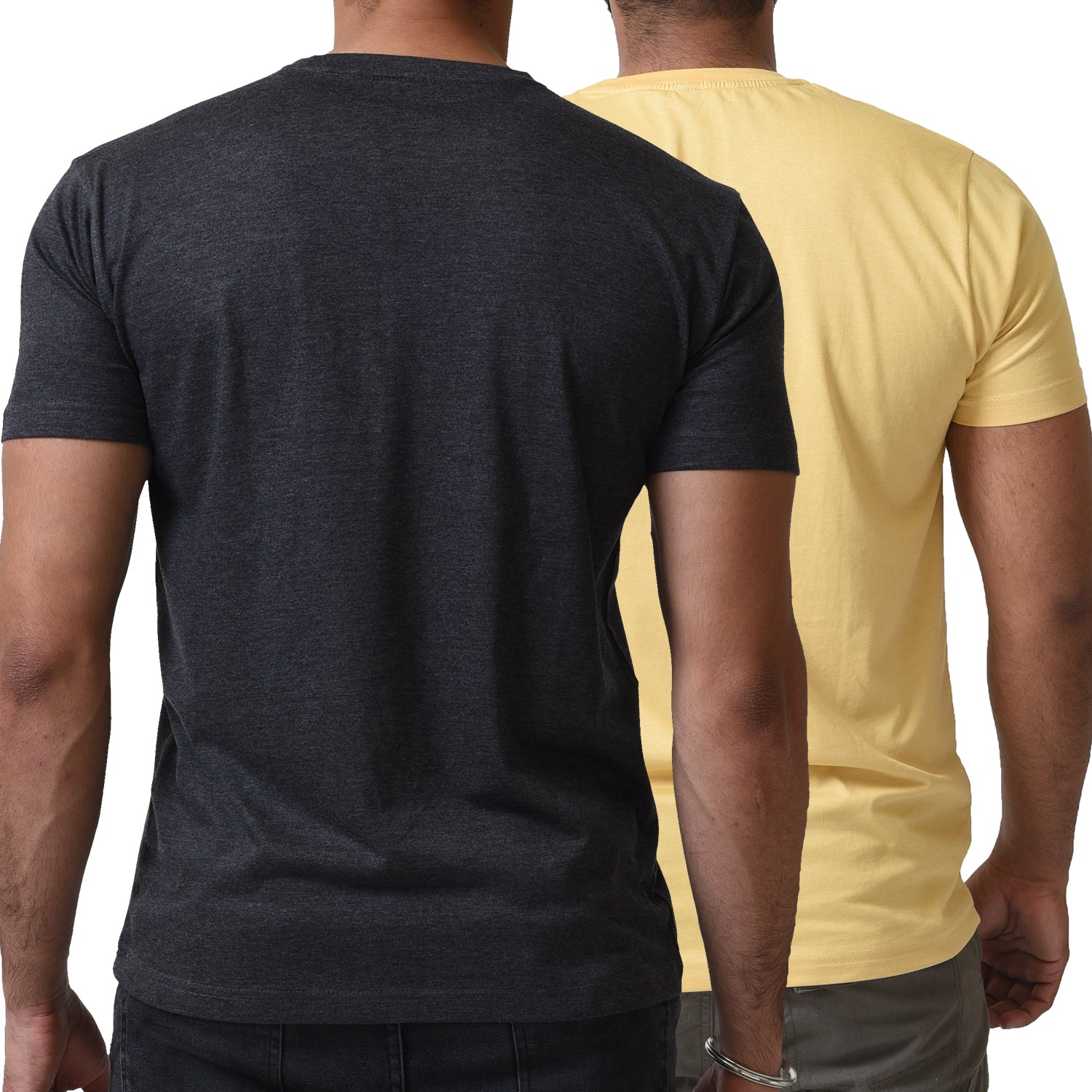 BASIC COMBO TSHIRT CARAMEL & CHARCOAL GREY