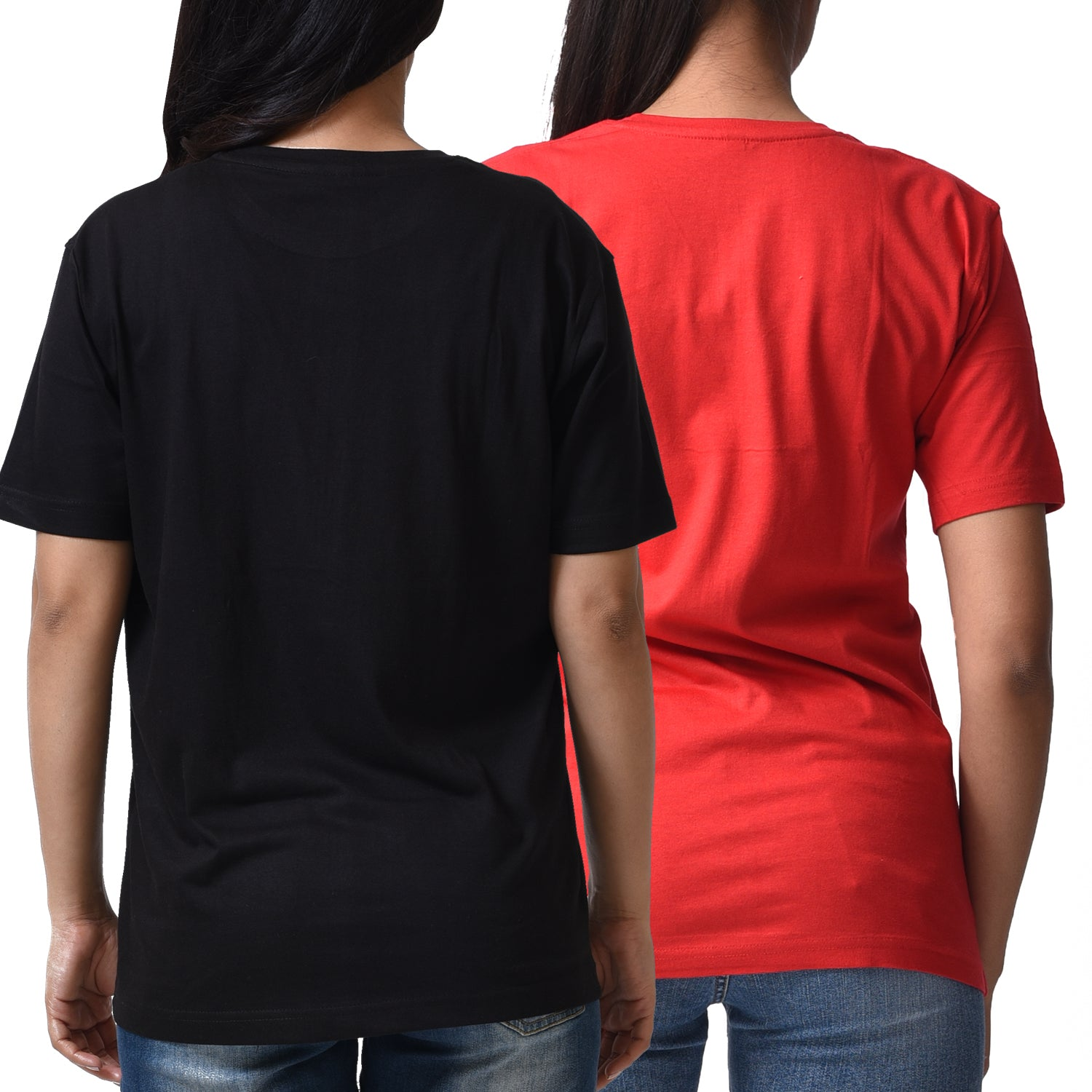 BASIC COMBO WOMEN TSHIRT RED & BLACK