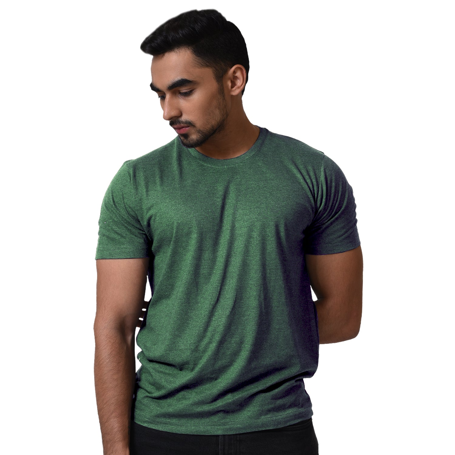 BASIC COMBO TSHIRT WHITE & GREEN MELANGE