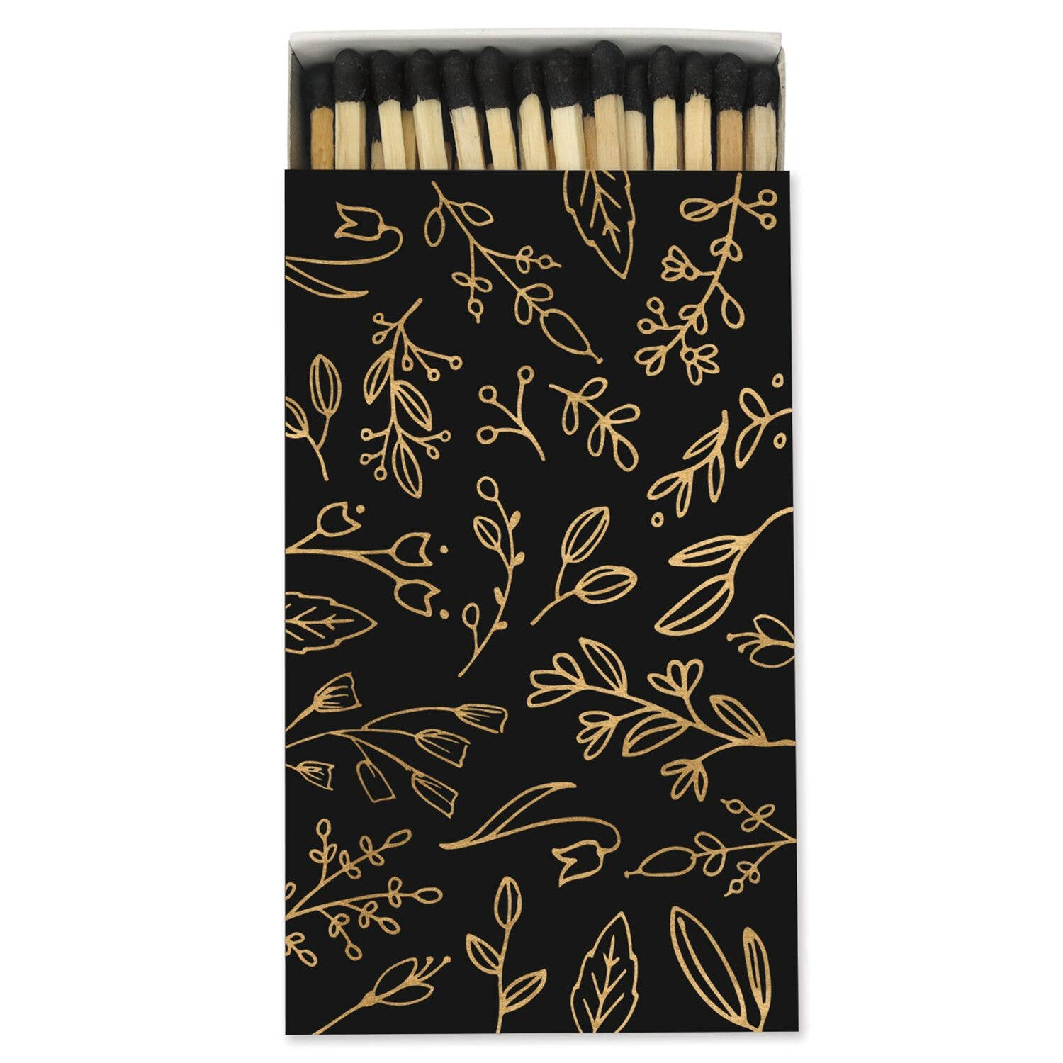 Large Match Box: Black & Gold Foil Floral