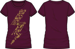 Harry Potter Curse Lightning Bolt Women's Burgundy T-Shirt