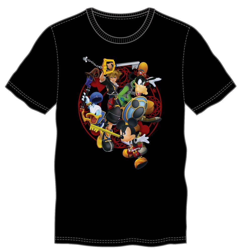 Kingdom Hearts Battle T-Shirt - Battle shows Donald Duck, Goofy, Mickey Mouse, and Sora