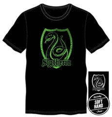 Harry Potter Slytherin Logo Specialty Soft Hand Print Men's Black T-Shirt