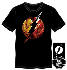 DC Comics Flash Family Logo Specialty Soft Hand Print Men's Black T-Shirt