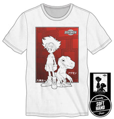 Digimon Taichi Tai Kamiya Agumon Specialty Soft Hand Print Men's White T-Shirt