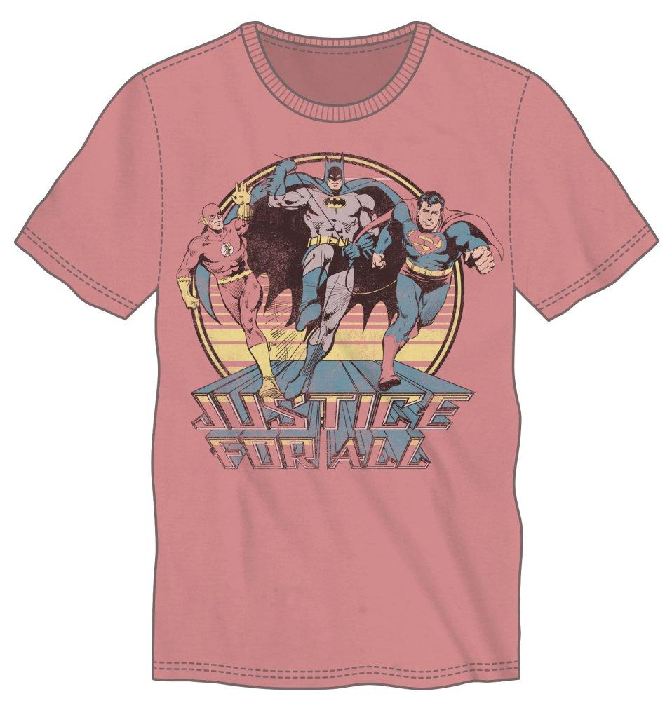 DC Comics JLA Justice League Of America Justice For All Batman Superman Flash Men's Salmon T-Shirt