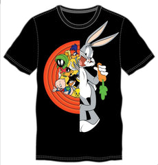 Looney Tunes Characters Featuring Bugs Bunny Men's Black T-Shirt