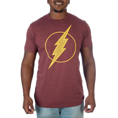 DC Comics Flash Logo Men's Red T-Shirt - Scarlet Speedster Justice League Member