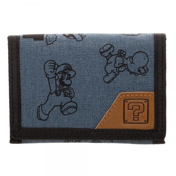 Mario Fabric Tri-Fold Wallet With Snaps
