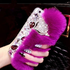 Big diamond Real rabbit fur hard cover case For SamsungS3 S4 S5 S6 S6EPLUS S7E N3 N4 5 7Top quality Luxury bling Rhinestone Case
