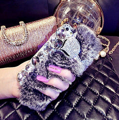 Big diamond Real rabbit fur hard cover case For Samsungs