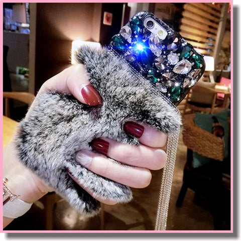 Bling Rhinestone Feminine Jewels Tassels Chain Diamond Glitter Phone Cases Cover Plush Rabbit Fur Protective Shell for Iphone 7